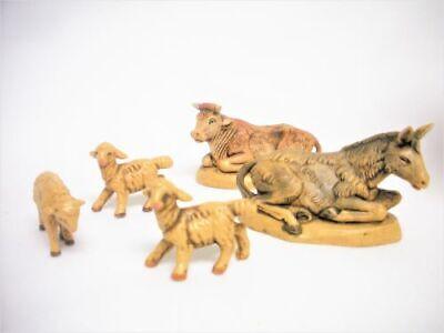 1989 Fontanini 3 SHEEP 1 COW 1 DONKEY Figurines 50173 Heirloom Nativity Box Set