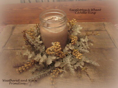 Primitive Country Faux Eucalyptus & Mustard Berries Candle Ring 10