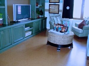 Create a feet retreat in your living room with cork flooring.