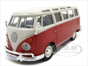 VOLKSWAGEN-SAMBA-BUS-VAN-RED-WHITE-1-25-DIECAST-MODEL-CAR-BY-MAISTO-31956