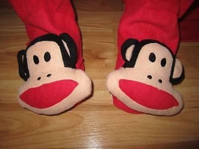 Paul Frank Babies - RED PAUL FRANK Baby MONKEY Adult FOOTED Fleece Pajamas L One Piece FOOTIES