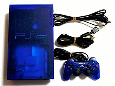 USED Japanese Ocean Blue Playstation 2 Console PS2 SCPH-37000 Transparent F/S