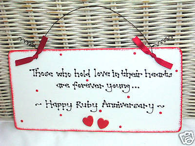 RUBY 40th WEDDING ANNIVERSARY Gift Present Sign Plaque (40th Wedding Anniversary Dekorationen)