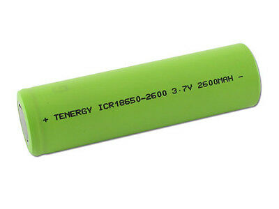 Tenergy 18650 Cylindrical 3.7V 2600mAh Li-Ion Rechargeable Battery Cell Flat Top