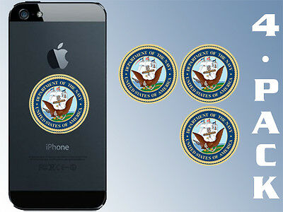 4-Pack 1.5 inch Round US NAVY Logo Cell Phone Stickers - decal small naval seal