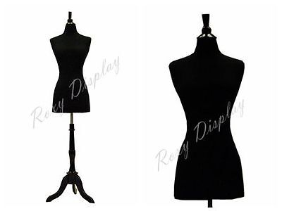 Female Mannequin Dress Form+Black Wood Base Size 6-8 JF-FWP-BK + BS-02BKX
