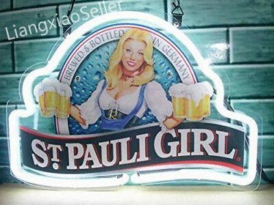 New S.t. Saint Pauli Girl Beer Bar Sign Real Neon Light Fast Free Ship