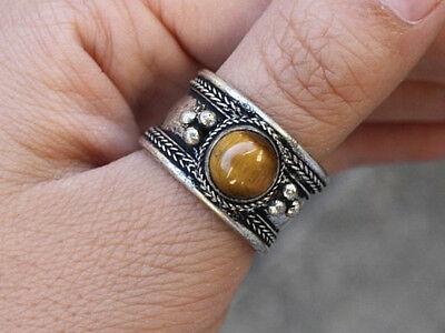 (Large Adjustable Tibetan Round Tiger Eye Gemstone Weaving Dotted Amulet Ring)