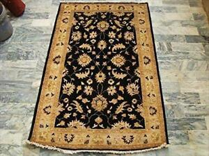 Black Chobi Zeigler Mahal Excellent Designed Vege Dyed Area Rugs Hand Knotted Carpet (5.1 x 3.2)'