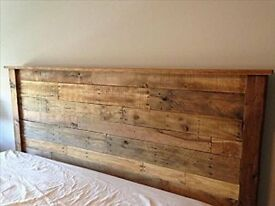 DOUBLE rustic wooden bed head board headboard made from reclaimed wood