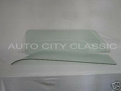 Rear Curved Quarter Glasses Pair in Green for 55-57 Chevrolet Pontiac 2 Dr Wagon