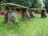 Pair Fine Antique York Style Stone Horse Heads Country Flat Top Garden Benches