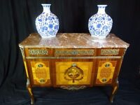 Museum Antique French Louis XVI Style Marble Top Canted Marquetry Commode Chest