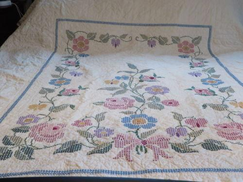 Vintage Cross Stitch Quilt Ebay