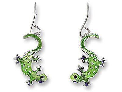 Plated Gecko - Paul Brent Silver Plated Little Gecko Dangle Earrings 21-46-Z1