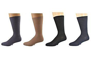 Sierra Socks 100% Diabetic Cotton True Rib Men Crew Smooth Toe Socks M11 -