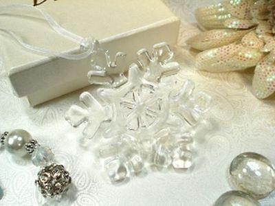 Clear Murano Glass Winter Snowflake Ornament Bridal Wedding Party Favor](Snowflake Ornament Favors)