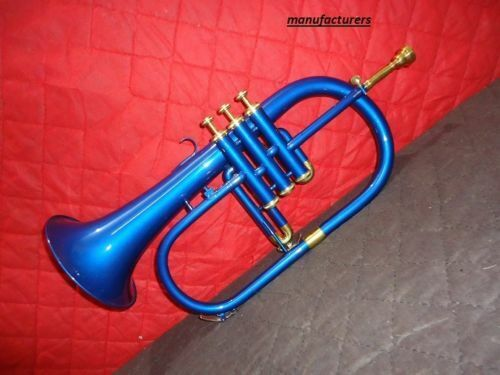 FESTIVE SALE Stylish And Stunning 3 Valve Blue Colored Lacquered Flugel Horn