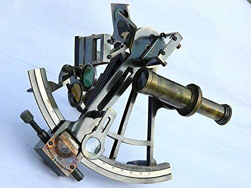 "Nautical Marine 8"" Heavy Brass Sextant - Maritime Navigation Instrument Replica"