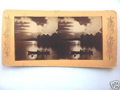 1800's BOAT ON NIAGARA RIVER IN EVENING,STEREOVIEW