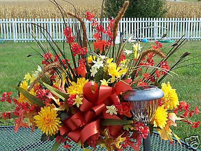 Thanksgiving / Leukemia Cancer Cemetery Flower Tombstone Saddle Frame Fall Spray