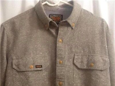 Volcom Shirt Khaki (Volcom The Marls Mens Long Sleeve Button Down Tweed Khaki Classic Collar Shirt S)