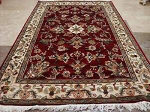Wow Red Ivory Medallion Flowers Rectangle Area Rug Hand Knotted Wool Silk Carpet (6 x 4)'