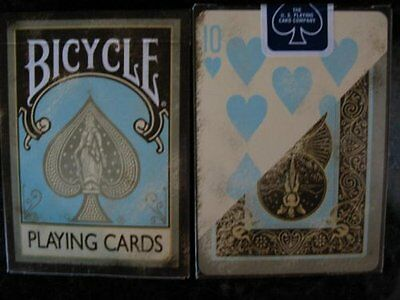 1 Deck Aqua Creme Bicycle Playing Cards Dirty Tan Faded Distressed Teal Brown