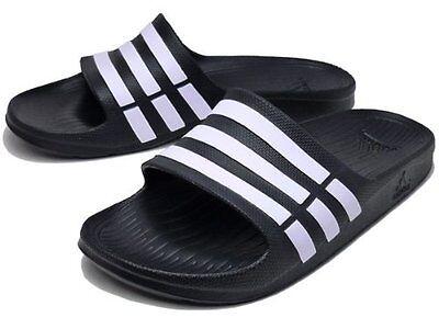 Adidas Duramo Mens Slide On Flip Flop Sandals  Black  sizes 7 - 12