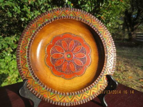 Carved Wooden Plate Ebay