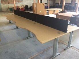 Six Rectangle Wave Front Desks & Dividers
