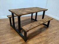 Heavy Duty Bespoke Wooden 6 Seat Garden Patio Pub Table Picnic Bench Set