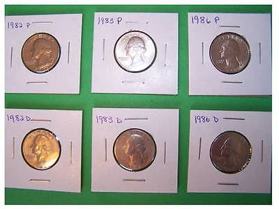 WASHINGTON QUARTERS 1982 1983 1986 P  D SET. KEY DATES