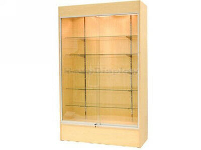 Maple Color Wall Display Case Retail Store Fixture Wlights Knocked Down Wc4m