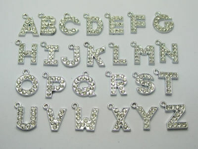 A-Z 12mm Charms Clear Crystal Rhinestone Letters Alphabet - Alphabet Charms