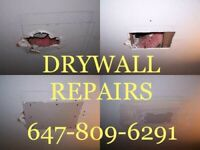 All Drywall Repairs~ Damage Hole, Water Leak, Smooth, Removal.