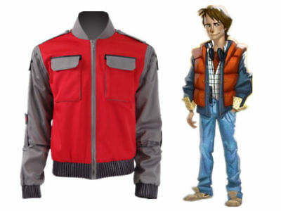 Back To Future Marty Mcfly Jacket Cosplay Costumes Adult Coat Halloween Outwear{ - Marty Mcfly Costume Halloween