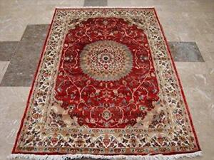 Exclusive Love Sun Floral Oriental Area Rug Hand Knotted Wool Silk Carpet (6 x 4)'