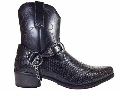 Men's Synthetic Crocodile Skin Western Cowboy Boots Black Belt Buckle Cheap New  - Cheap Mens Cowboy Boots