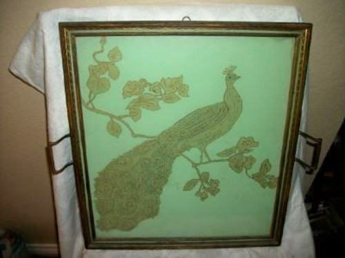 ANTIQUE FRENCH ART NOUVEAU HP SILK PEACOCK TRAY GILT LARGE EARLY 1900