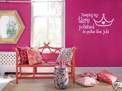 (TIARA PRINCESS Girls Teen Bedroom Vinyl Wall Art Decal)