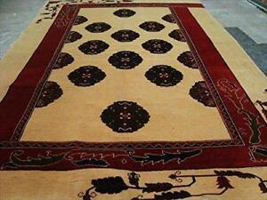 Elephant Foot Print Bokhara Afghan Vege Dyed Area Rug Hand Knotted Carpet (7.5 X 5)'