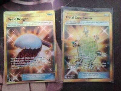 Pokemon Cards Secret rare gold card trainers, Metal Core barrier, Beast Bringer