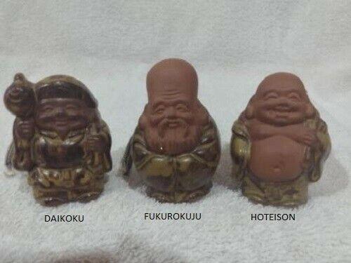 3 Japanese Clay Bells 7 Deities of Good Fortune Asian Ornament Figurine ceramic