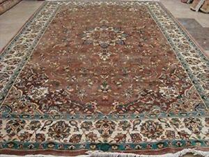 Exclusive Floral Medallion Kashan Designed Rectangle Area Rug Wool Silk Hand Knotted Carpet (9 x 6)'