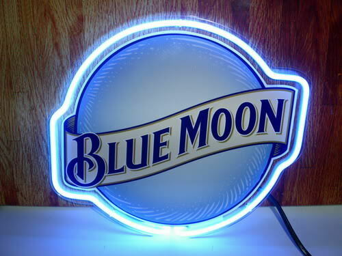 "New Blue Moon Neon Light Sign 14""x10"" Beer Pub Real Glass Gi"
