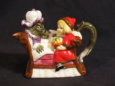 vintage Little Red Riding Hood Teapot wolf tea party ceramic pot