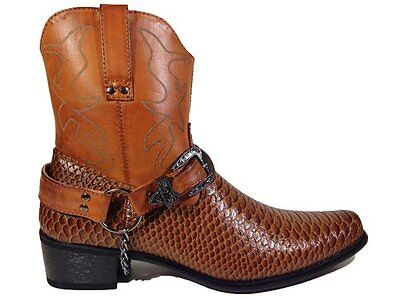 Men's Synthetic Crocodile Skin Western Cowboy Boots Brown Belt Buckle Cheap New  - Cheap Mens Cowboy Boots