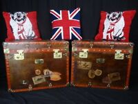 Pair Magnificent Handmade Leather Travel Luggage Trunks Brass Fixtures Coffee Tables