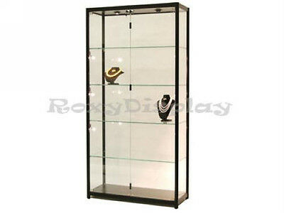 Tower Black Showcase Display Store Fixture Assembled W Lights Tw40bk